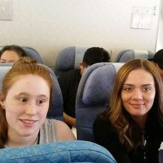 Becca and Jade on plane